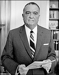 J. Edgar Hoover, head of the U.S. Federal Bureau of Investigation, 1961.. LIBRARY OF CONGRESS PHOTO .